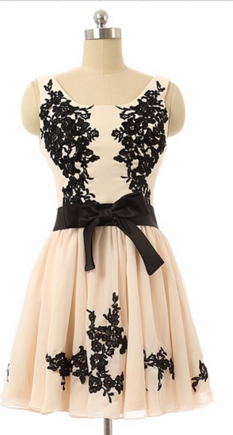 Black Appliques Short Homecoming Dress, Formal Graduation Dress