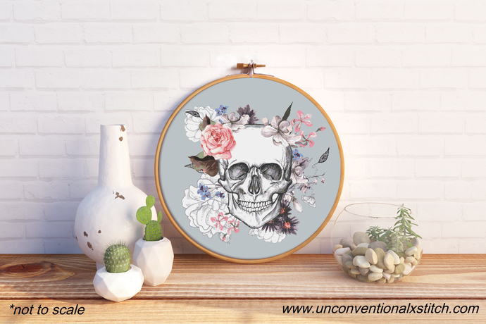 In Death floral Skull cross stitch pattern