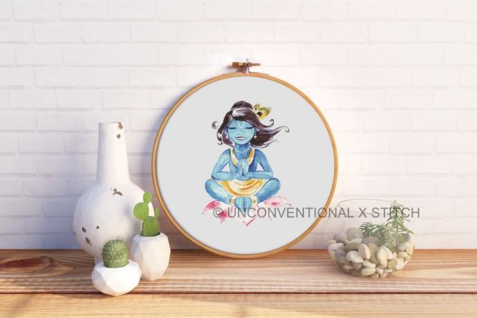 Indian God Krishna cross stitch pattern