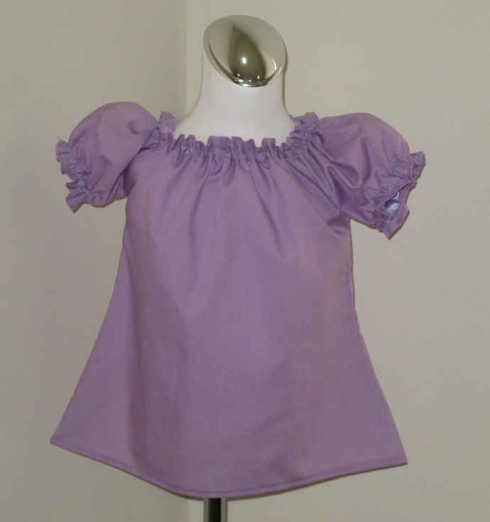 Lilac Peasant Top 12M To 7, Girl Peasant top, Girl Top, Toddler Blouse, Purple