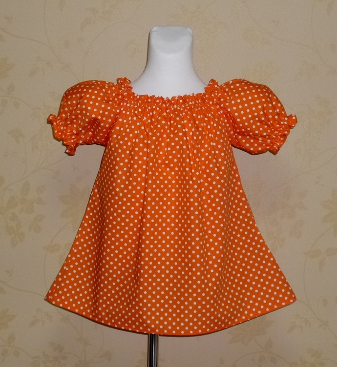 Orange Polka Dots Peasant Top 12M To 7, Girl Top, Little Girl top, Tunic,
