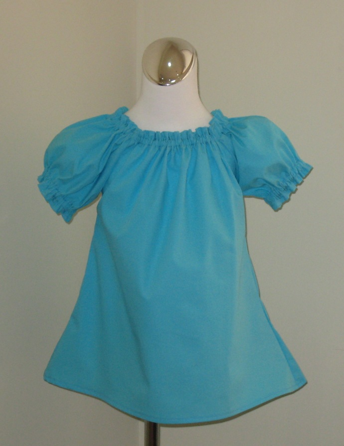 Aqua Peasant Top 12M To 7, Girl Top, Toddler Top, Infant Blouse, Little Girl
