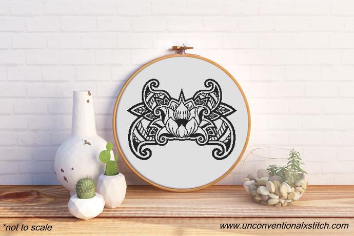 Color in Lotus cross cross stitch pattern