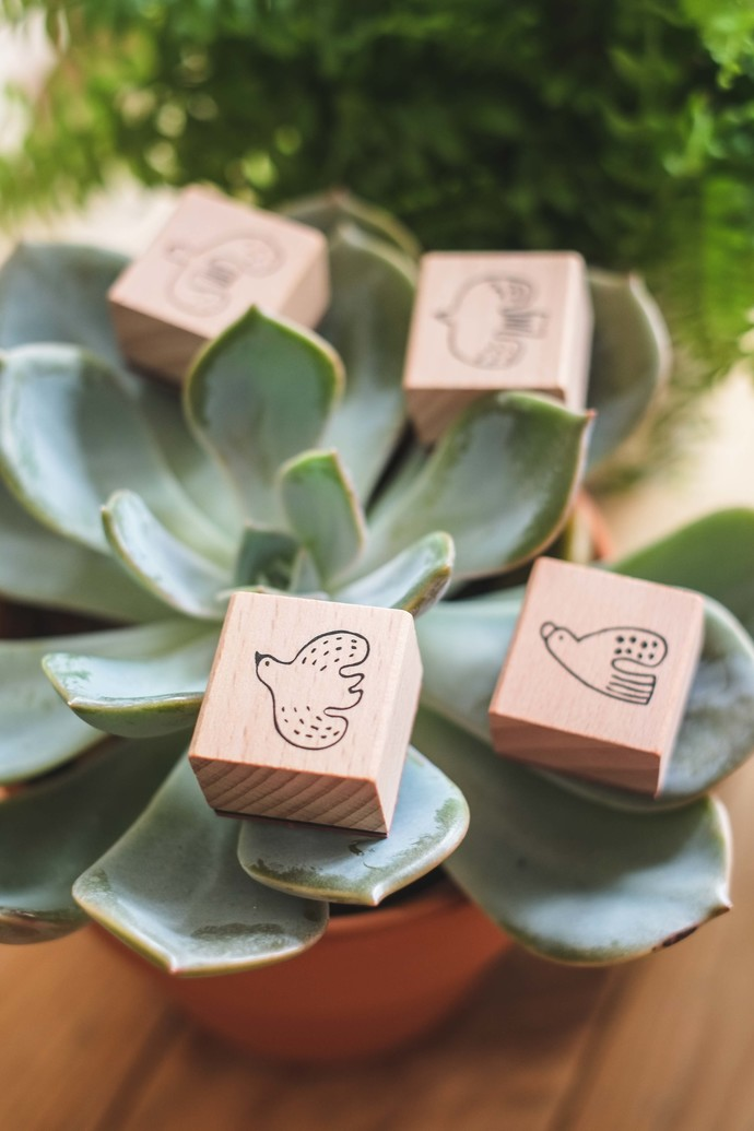 Evakaku stamps - birds' wooden stamps from Taiwan - perfect for Travelers
