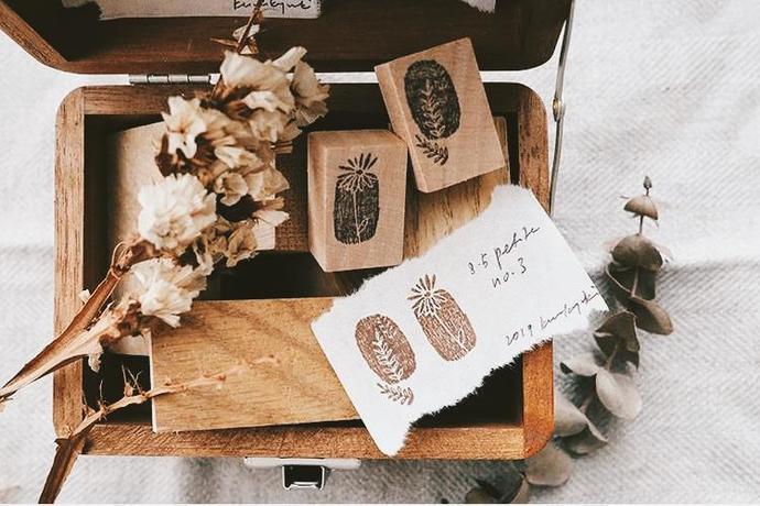 Kurukynki wooden stamp set - Petite No. 3 - perfect for journaling & happy mail