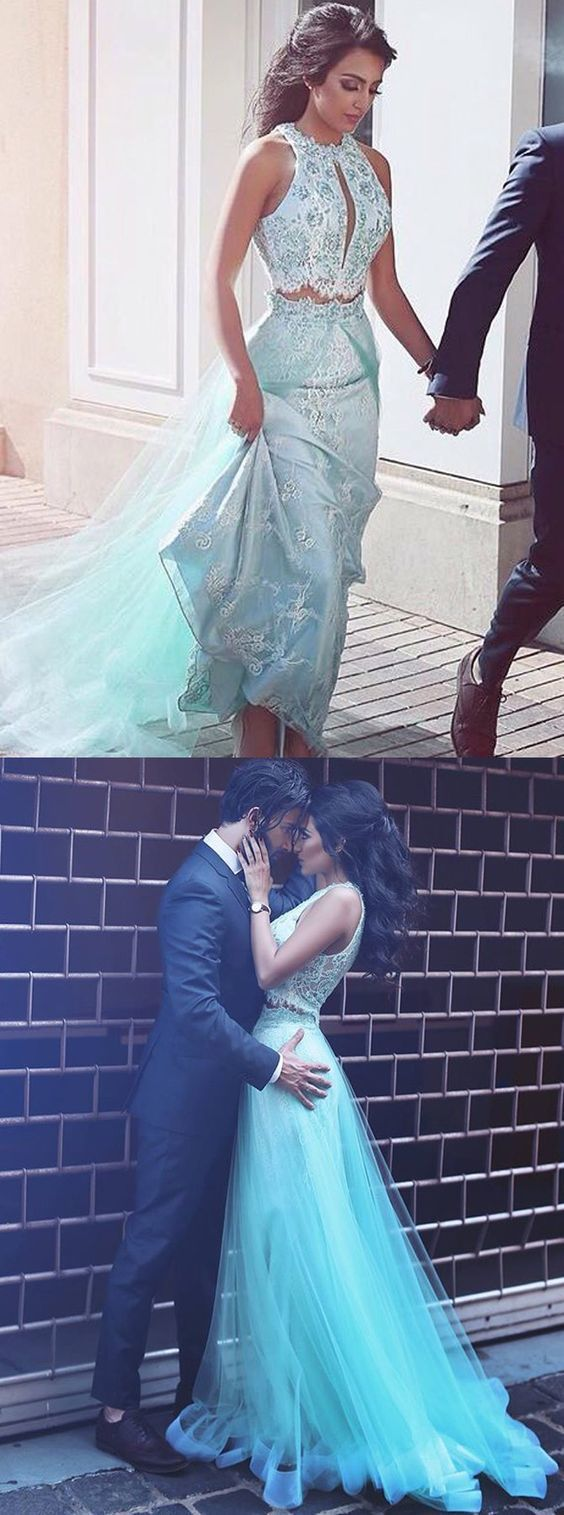two piece prom dresses,blue prom dresses,lace prom dresses,keyhole prom dresses