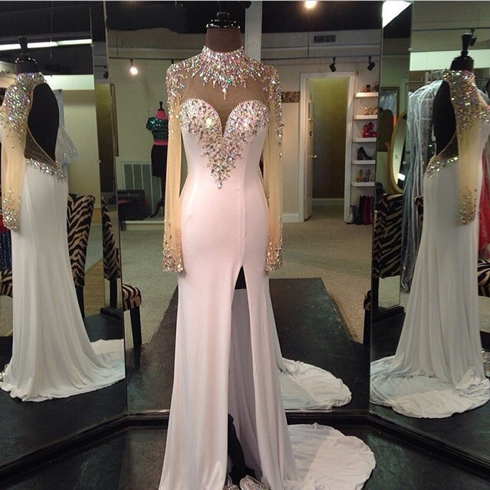 Sexy Long Sleeves Prom Dresses,Mermaid Prom Dresses,Beaded Prom Dresses