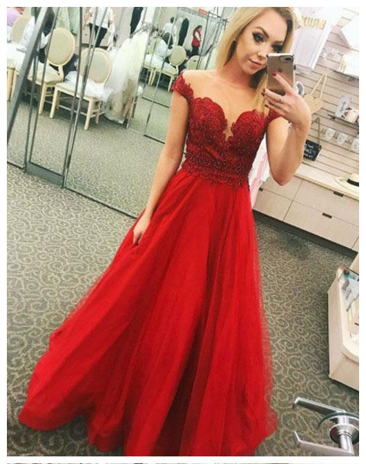 Red Prom Dresses,Applique Prom Gown,Tulle Prom Dress