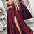 Maroon Prom Dresses,Side Slit Prom Dress,A Line Evening Dresses,Prom Dress With