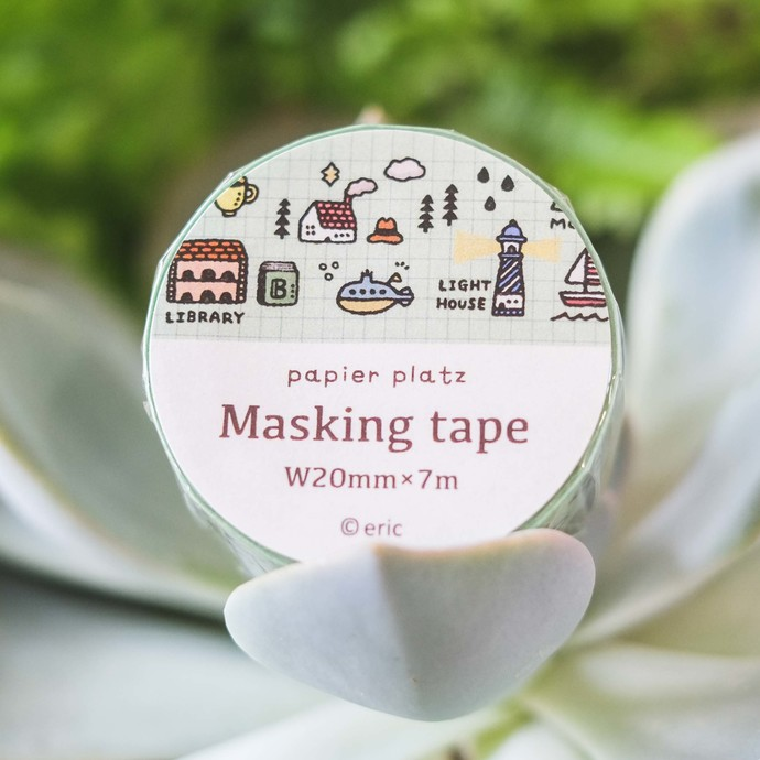 Papier Platz x eric washi tape - My City - 2 cm wide masking tape 7m