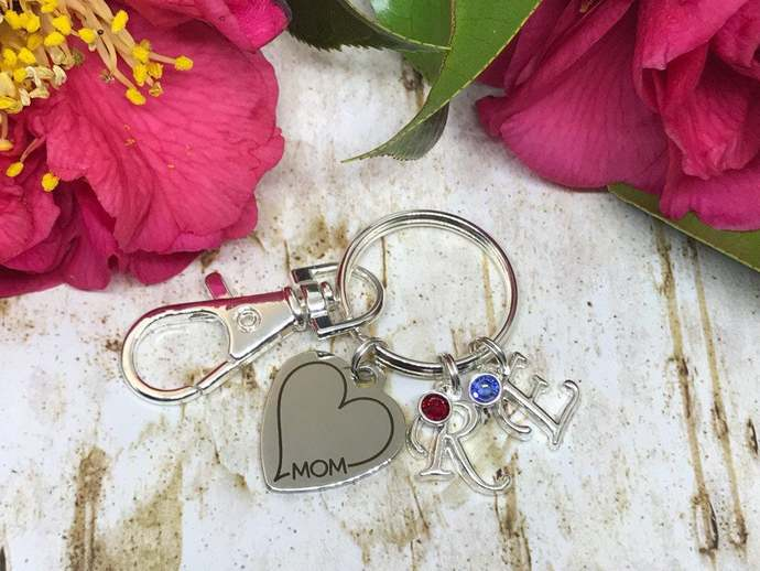 Personalized silver heart mom keyring with childrens initials and birthstones,