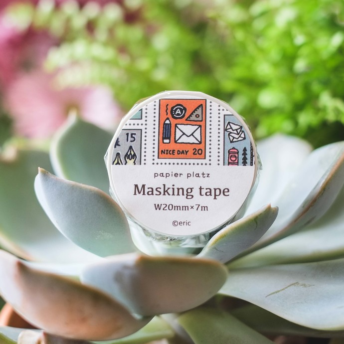 Papier Platz x eric washi tape - Stamp - 2 cm wide masking tape 7m