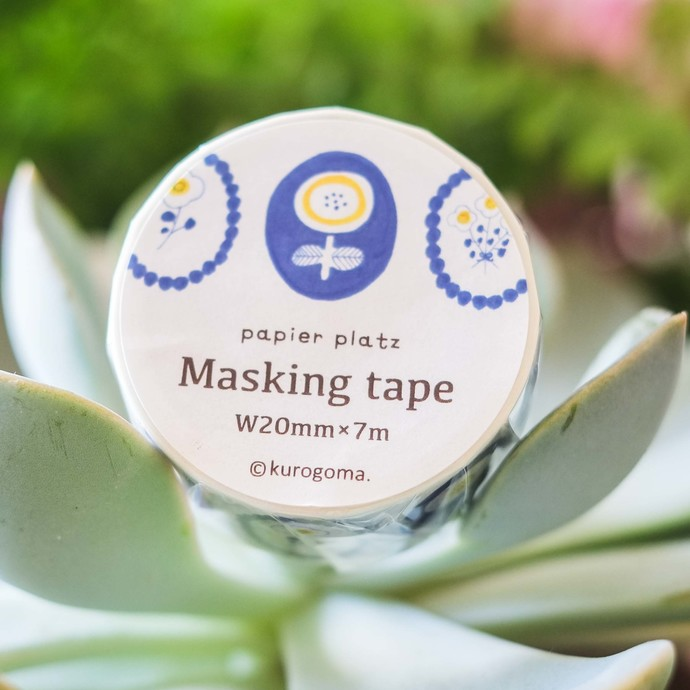 Papier Platz x kurogoma. washi tape - Flower - 2 cm wide masking tape 7m
