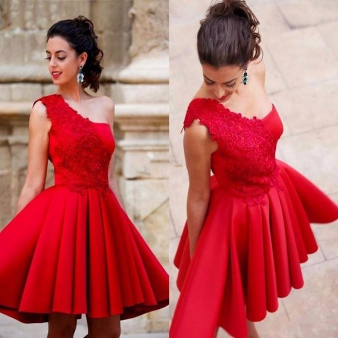 One Shoulder Satin Short Homecoming Dress, Lace Red Party Dress