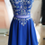 Elegant Blue Beaded Short Homecoming Dress, Prom Party Dress for Graduation