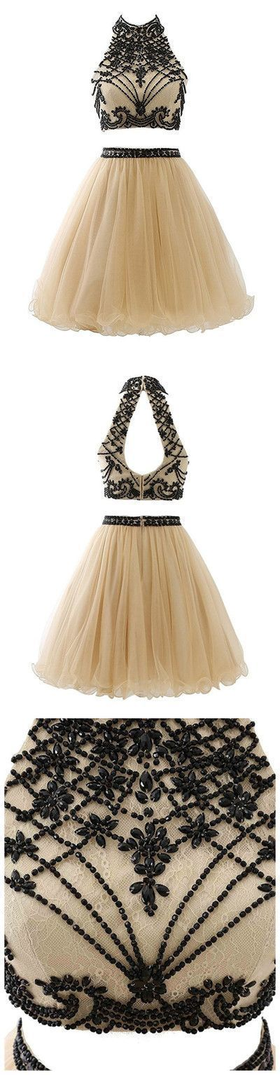 Elegant Beaded Short Homecoming Dress, Tulle Two Piece Homecoming Dresses