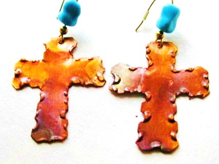Earrings, Copper Crosses with Turquoise