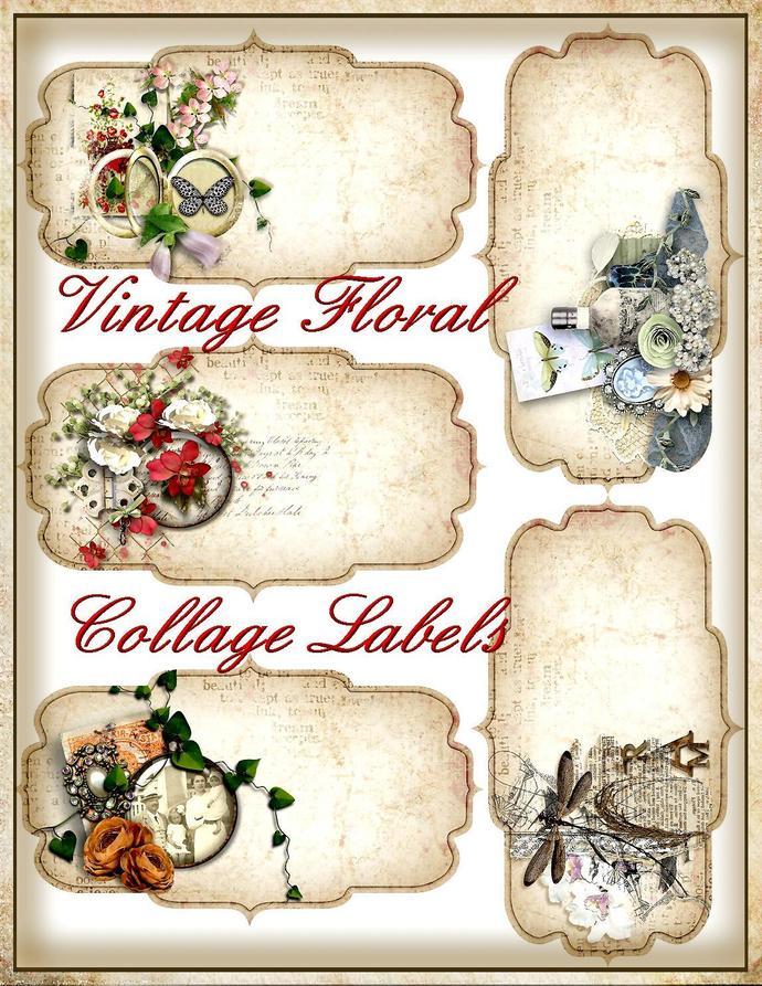 Vintage Floral Collage Labels - Digital Junk Journal Printable -INSTANT DOWNLOAD