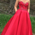Red Appliques Sweetheart Satin Prom Dresses
