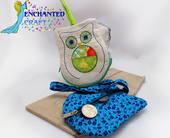 Fun Embroidered OWL Coin Purse, wallet, wristlet, mini purse, bag handmade