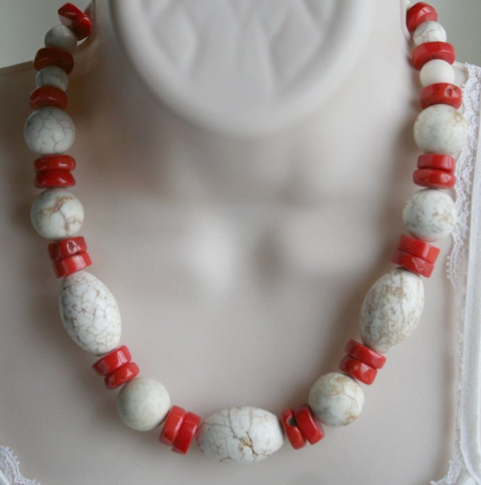 Chunky White Turquoise Magnesite with Red Coral Statement Necklace, Big Rustic