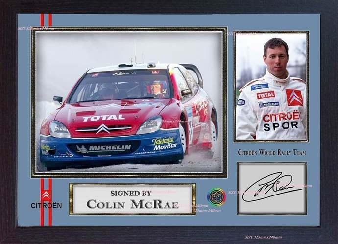 Colin McRae Citroën World Rally Team signed autograph photo print Framed