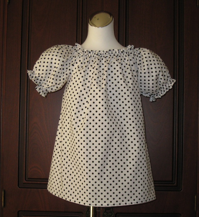 White and Black Polka Dots Peasant Top 12M To 7 Girl Top, Girl Tunic, Little