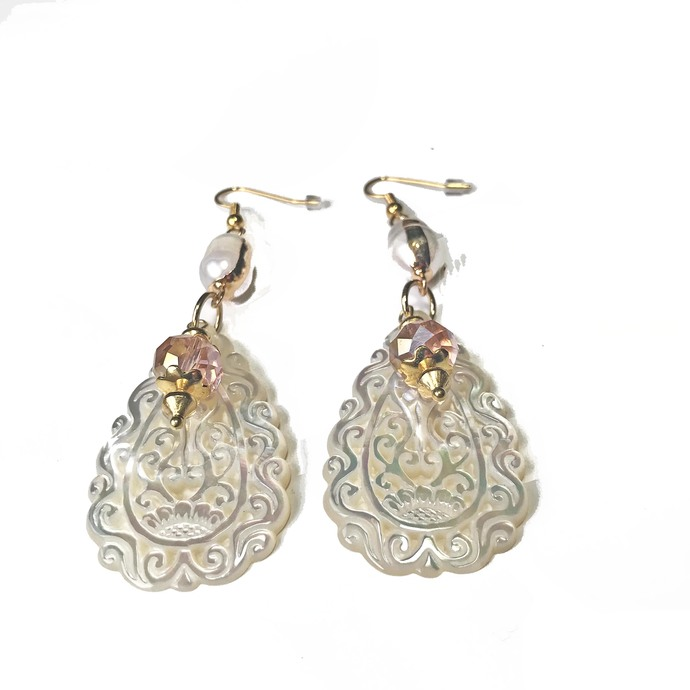 SOLD Hand Carved White Mother of Pearl Oval Earrings, Pink Swarovski Bead