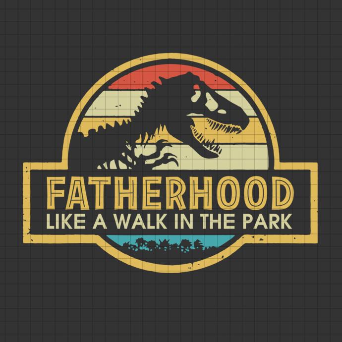 Fatherhood Like A Walk In The Park svg, Dad Retro Sunset svg, Vintage Fatherhood