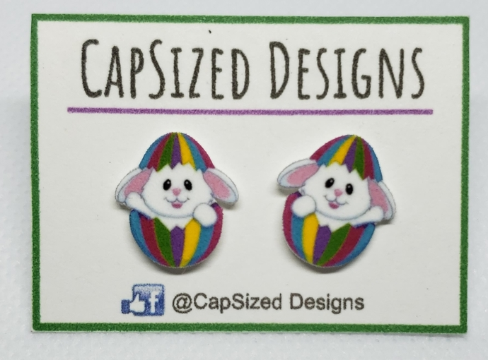 Easter Egg and Bunny Novelty Stud Earrings