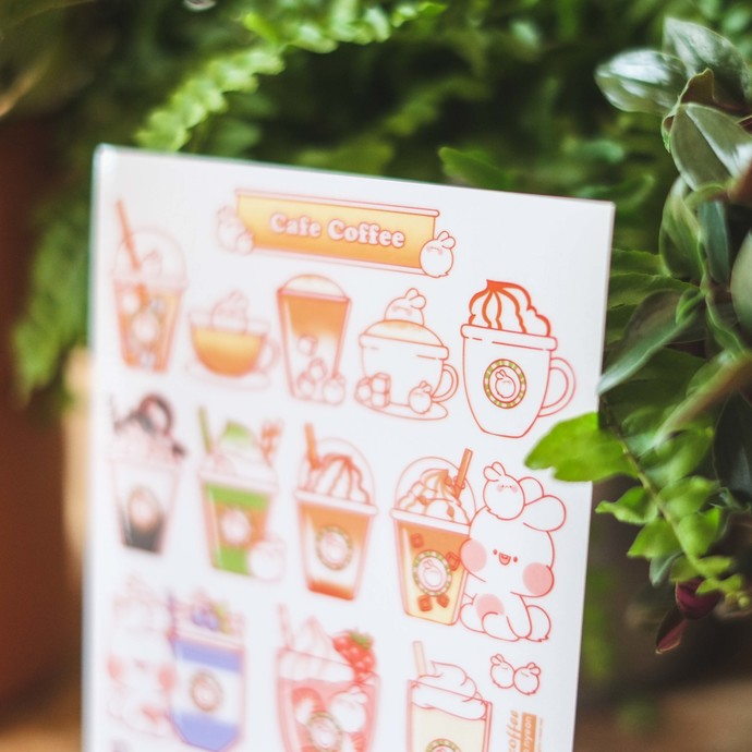 Put So Nyeon cute sticker sheets - Cafe Coffee