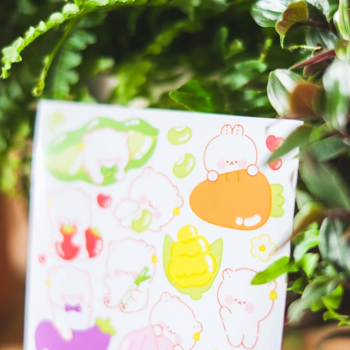 ​Cotton Danchoo sticker sheets - Danchoo Veggies