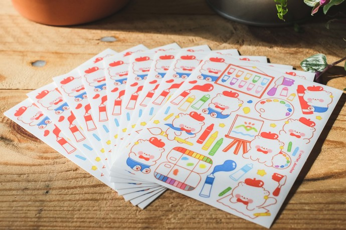 Cotton Danchoo sticker sheets - Art Colours