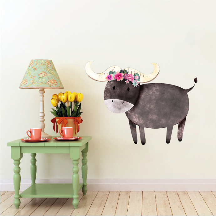 Buffalo with Flowers - Buffels - Safari Animals Series - Wall Decal - Great For