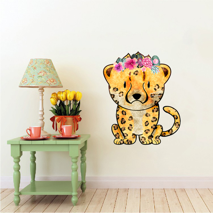Cheetah with Flowers - Jagluiperd - Safari Animals Series - Wall Decal - Great