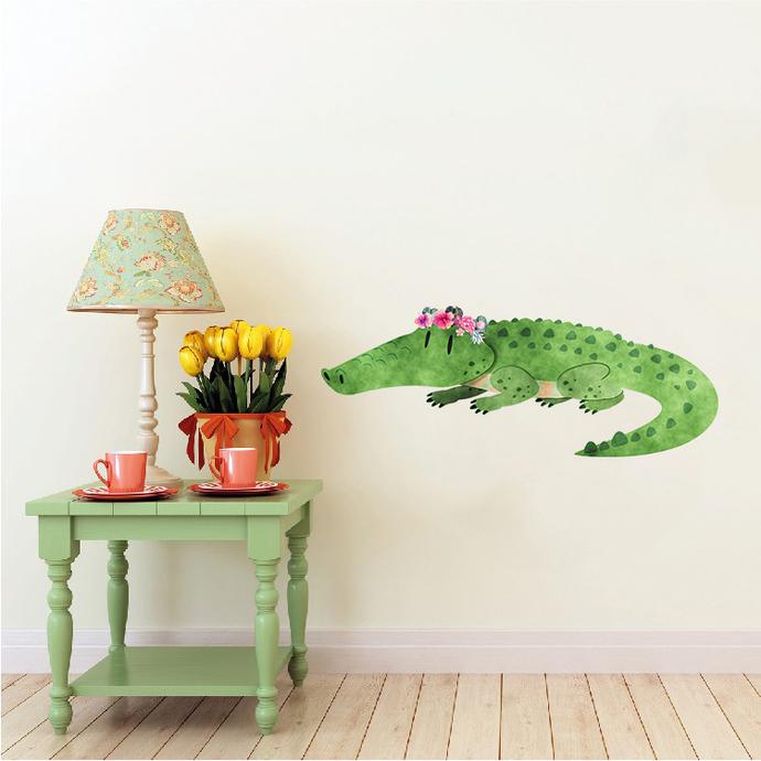 Crocodile with Flowers - Krokodil - Safari Animals Series - Wall Decal - Great