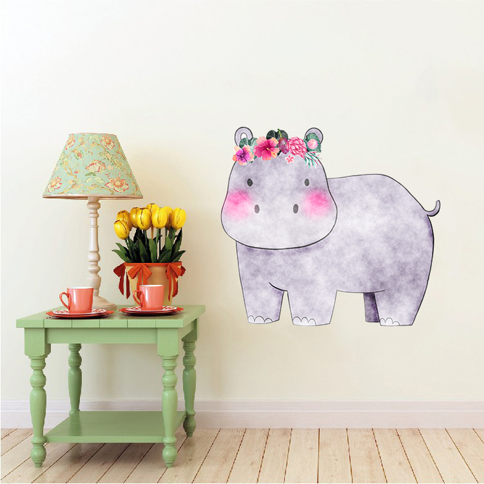 Hippopotamus with Flowers - Seekoei - Safari Animals Series - Wall Decal - Great