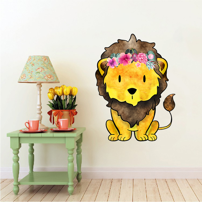 Lion with Flowers - Leeu - Safari Animals Series - Wall Decal - Great For
