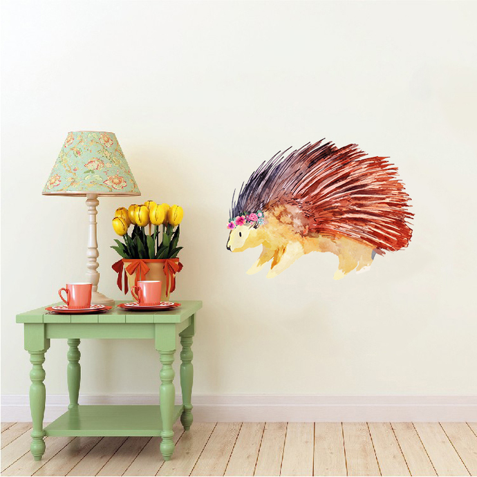 Porcupine with Flowers - Ystervark - Safari Animals Series - Wall Decal - Great