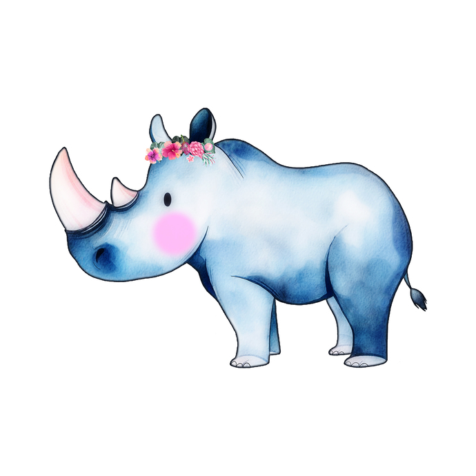 Rhino with Flowers - Renoster - Safari Animals Series - Wall Decal - Great For