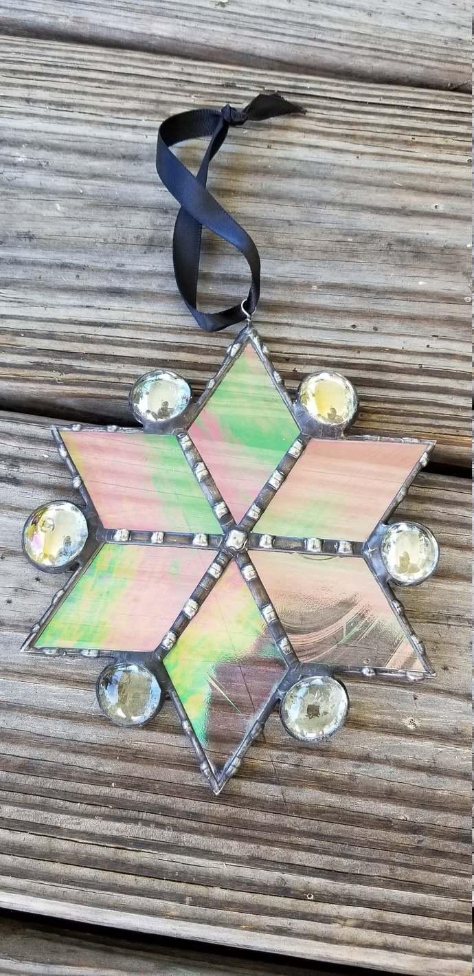 Iridescent stained glass snowflake suncatcher simple geometric Christmas