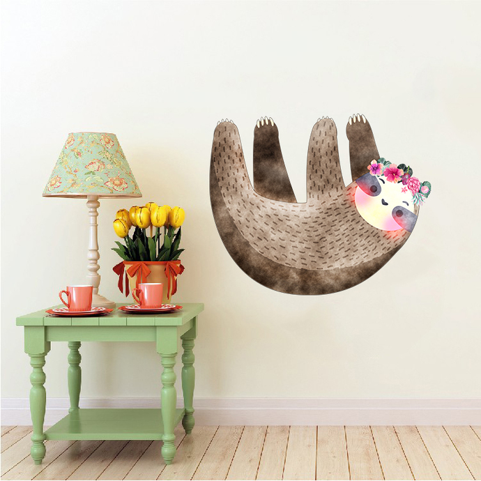 Sloth with Flowers - Luiheid - Safari Animals Series - Wall Decal - Great For