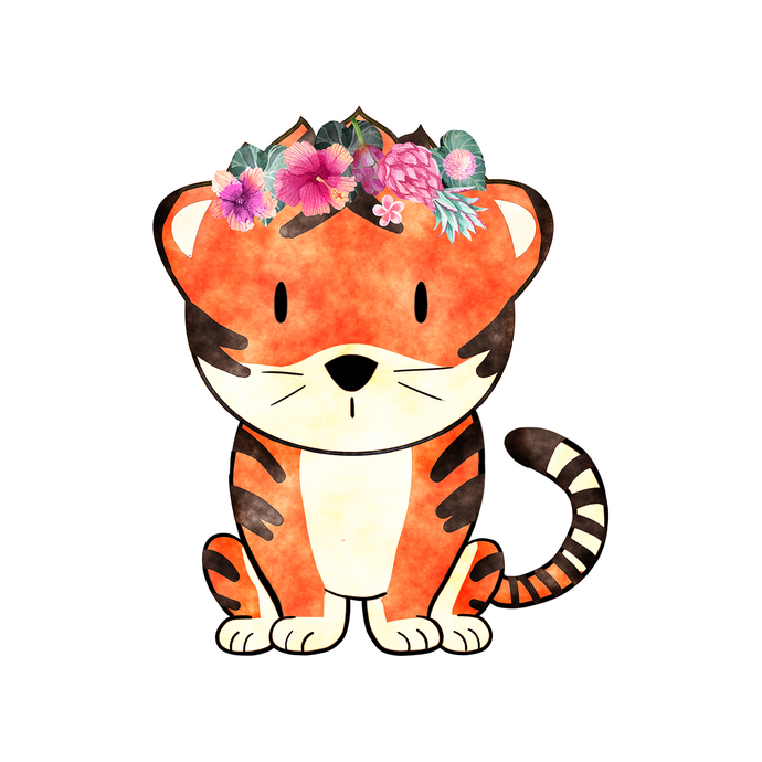 Tiger with Flowers - Baagh - Safari Animals Series - Wall Decal - Great For