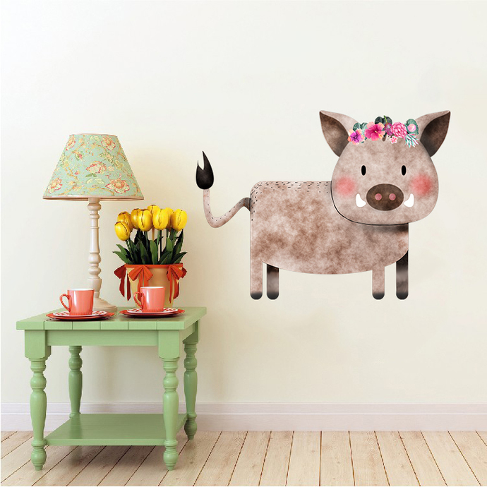 Warthog with Flowers - Vlakvark - Safari Animals Series - Wall Decal - Great For
