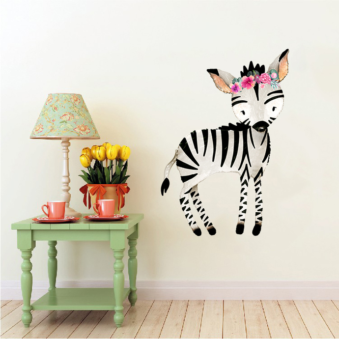 Zebra with Flowers - Sebras - Safari Animals Series - Wall Decal - Great For