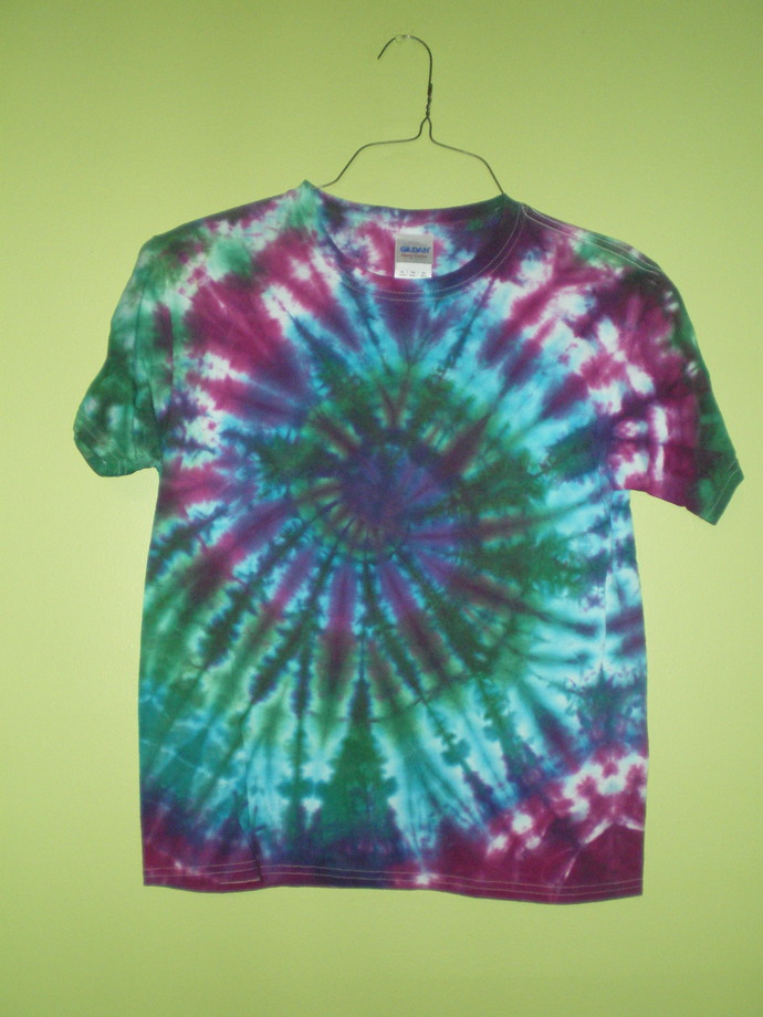 Blue, Green, and Purple Tie Dye Youth XL T-Shirt