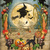 Halloween Witches and Cornfield Digital Collage Greeting Card2385