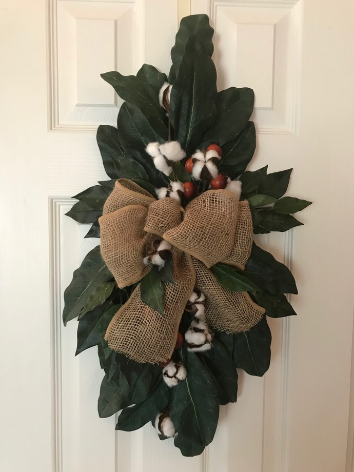 Fall Wreath front door decor with natural cotton and burlap
