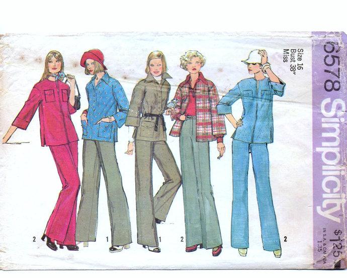 Simplicity 6578 Misses Shirt-Jacket, Pants 70s Vintage Sewing Pattern Uncut Size