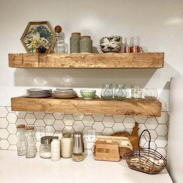 Wood Floating Shelves 3-Inches Thick | Rustic Shelf | Farmhouse Shelf |